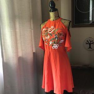 Dresses & Skirts - Orange Cold Shoulder Dress W/Floral Embroidery